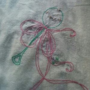 Other - Vintage Embroiderd Flannel Baby Receiving Blanket